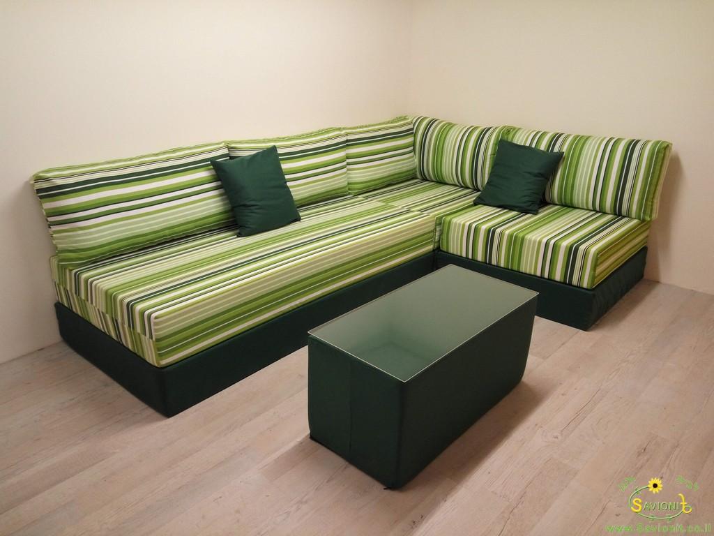 פינת ישיבה מודלרית משולבת בד דוחה מים בשילוב דגם שבילים ירוקים