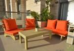 פינת זולה ענקית מושבים חלקים צבע כתום