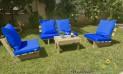 סט קלאסיקו ריפודים חלקים דוחה מים צבע כחול רויאל 107 להמחשה בלבד