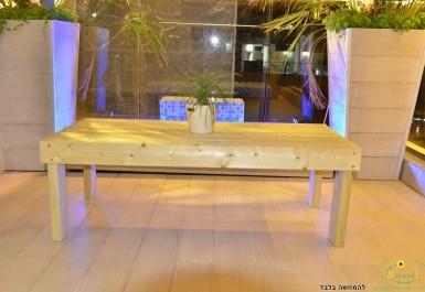 """שולחן עץ לפינת זולה 120X60 ס""""מ להמחשה בלבד"""