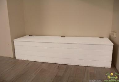ספסל אחסון 1.8 מטר צבע קרם להמחשה בלבד
