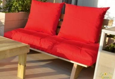 ספסל זולה זוגי קפיטונז' דוחה מים צבע 102 אדום להמחשה בלבד