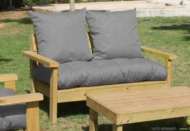 ספסל זולה זוגי גבוה עם ידיות ומושב קפיטונז' צבע אפור