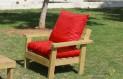 ספסל זולה גבוה עם ידיות ומושב קפיטונז' צבע אדום