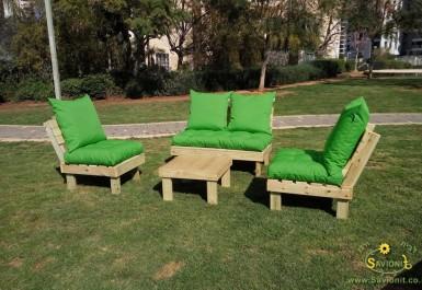 פינת זולה גבוהה ריפוד קפיטונז' דוחה מים צבע ירוק דשא