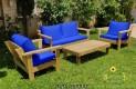 סט פינת ישיבה וויד מזרנים חלקים וכריות מזוודה צבע כחול רויאל 107 להמחשה בלבד
