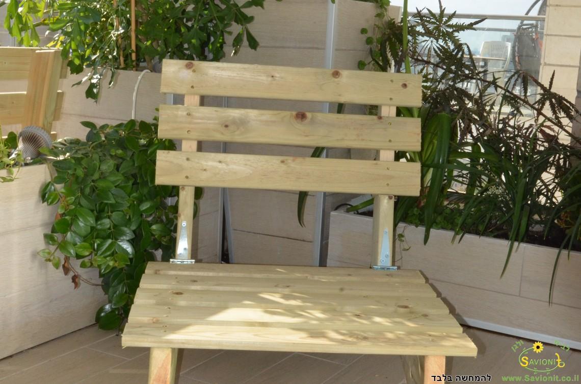 ספסל עץ יחיד גדול לזולה 70X60