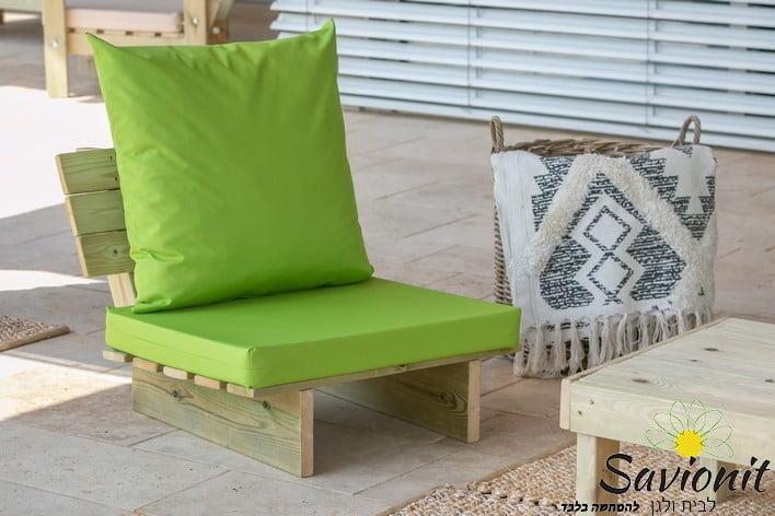 כורסא בודדת מעץ מלא ריפוד סטנדרט ירוק תפוח