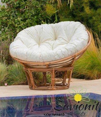 כורסא עשויה במבוק איכותי דגם ג'ון ריפוד קפיטונז' שמנת
