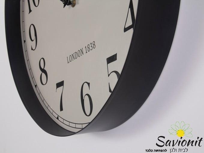 שעון קיר שחור קוטר 40