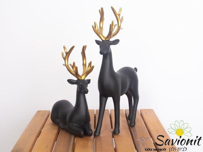 זוג פסלי איילים שחור עם זהב