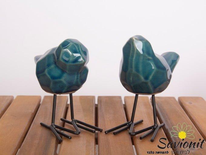 זוג ציפורים גיאומטריות בצבע טורקיז
