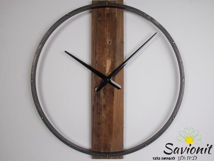 שעון קיר עץ ממוחזר