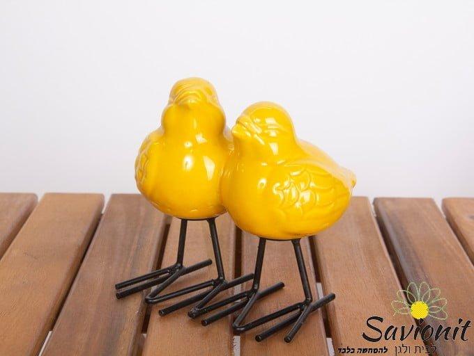 זוג ציפורים מחוברות בצבע צהוב