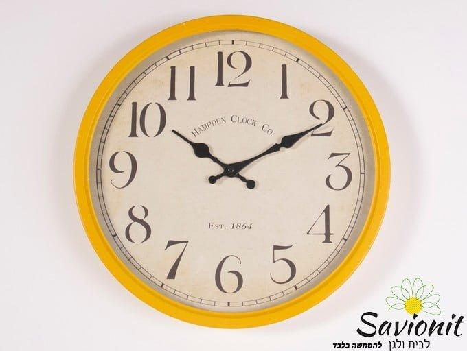 שעון קיר קוטר 35 צהוב