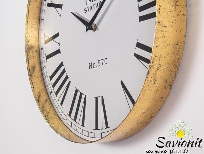 שעון קיר קוטר 40 צבע זהב