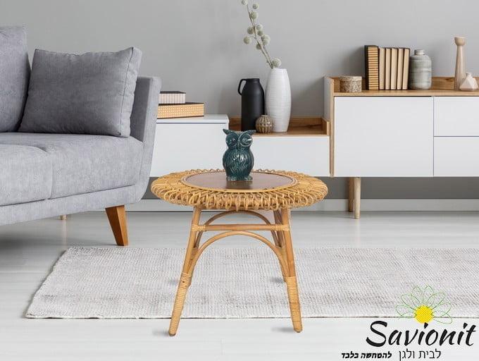 שולחן מראטן טבעי בעבודת יד
